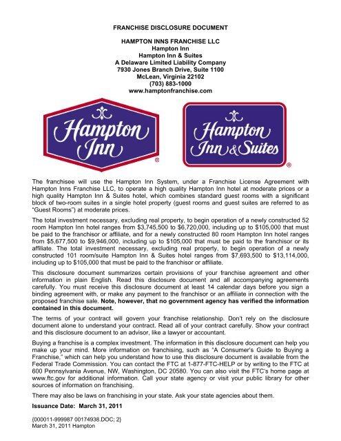 FRANCHISE DISCLOSURE DOCUMENT HAMPTON INNS