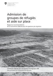 Admission de groupes de réfugiés et aide sur place - admin.ch