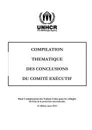 Compilation thématique des conclusions du Comité exécutif - UNHCR