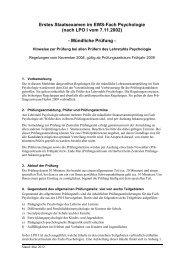 Erstes Staatsexamen im EWS-Fach Psychologie