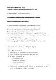 1 Prof. Dr. Christa Kleindienst-Cachay Vorlesung: Grundlagen der ...