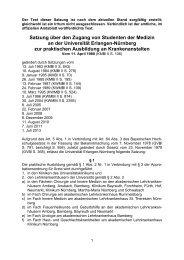 Satzung über den Zugang von Studenten der Medizin an der ...