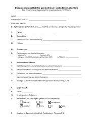Dokumentationsblatt für gentechnisch veränderte Labortiere