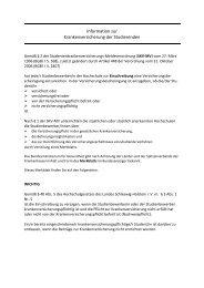 Information zur Krankenversicherung der Studierenden
