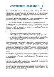 Die Universität Flensburg ist eine junge, kleine, lebendige ...