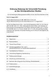Ordnung (Satzung) der Universität Flensburg zu den ...