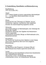9. Clusterbildung, Klassifikation und Mustererkennung ...
