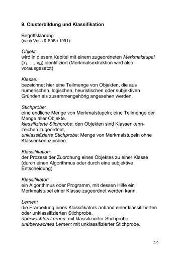9. Clusterbildung und Klassifikation Begriffsklärung Objekt: wird in ...