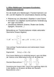 Affine Abbildungen, homogene Koordinaten, Objekttransformationen