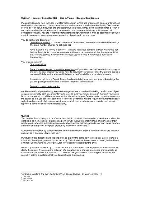 Writing 1 – Summer Semester 2003 – Sara B. Young – Documenting ...