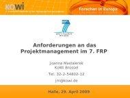 Anforderungen an das Projektmanagement im 7. FRP