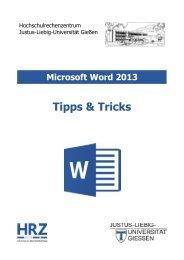 Tipps und Tricks in Word 2013 - Justus-Liebig-Universität Gießen
