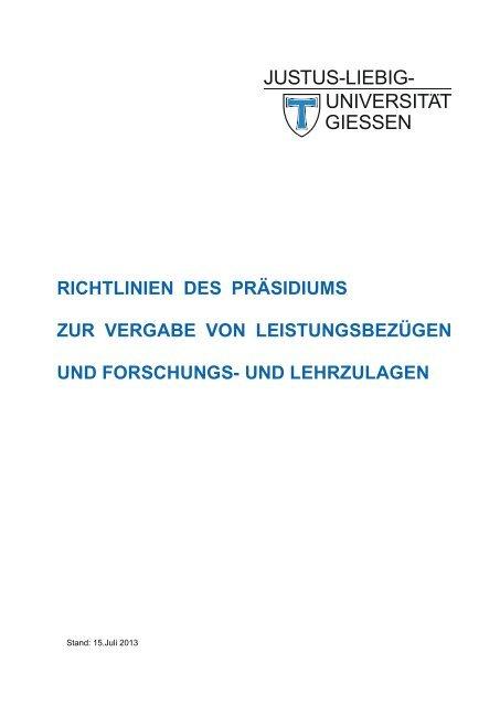 Richtlinien des Präsidiums zur Vergabe von Leistungsbezügen und ...