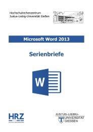 Serienbriefe in Word 2013 - Justus-Liebig-Universität Gießen