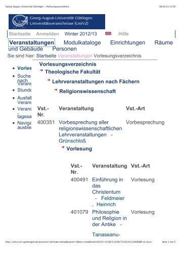 Georg-August-Universität Göttingen - Vorlesungsverzeichnis