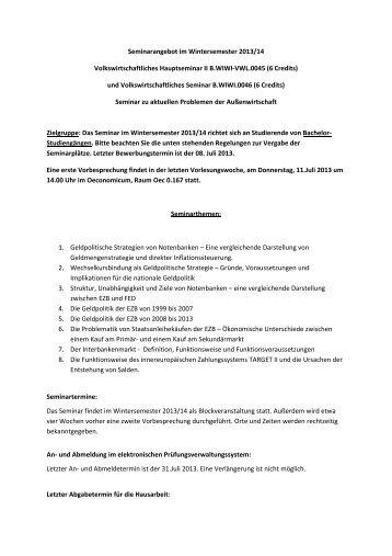 Seminarangebot im Wintersemester 2013/14 Volkswirtschaftliches ...