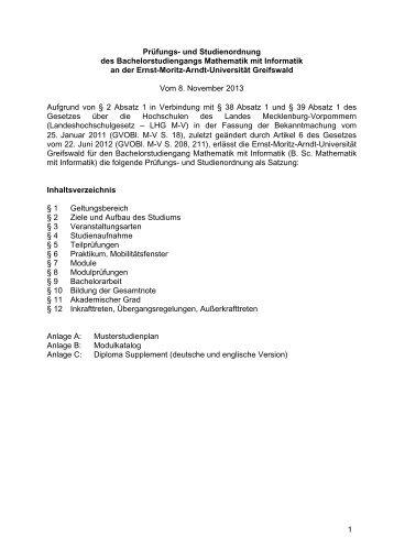 1 prfungs ernst moritz arndt universitt greifswald - Uni Greifswald Bewerbung
