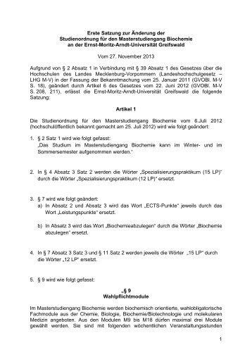 1 nderungssatzung der studienordnung msc biochemie - Uni Greifswald Bewerbung