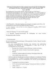 Änderung der Satzung über besondere Zugangsvoraussetzungen ...