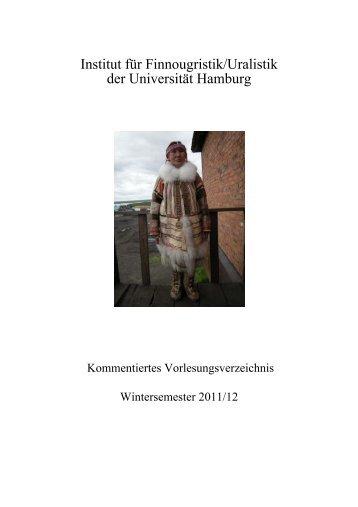 Kommentiertes Vorlesungsverzeichnis Wintersemester 2011/12