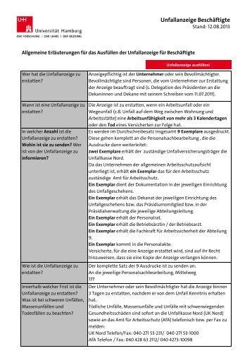 Unfallanzeige für Beschäftigte der Universität Hamburg (PDF)
