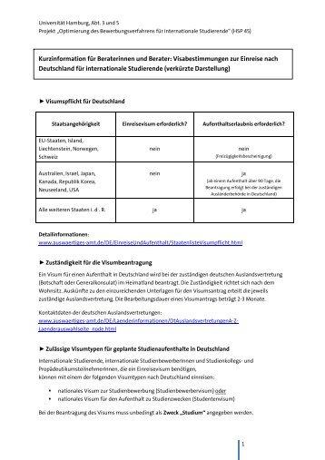 Kurzinformation Visum - Universität Hamburg