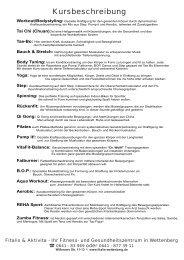 Kursplan ausdrucken (PDF) - Fitalis und Aktivita