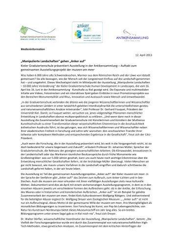 Manipulierte Landschaften - Christian-Albrechts-Universität zu Kiel