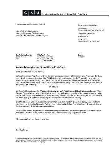 Anschubfinanzierung für weibliche Post-Docs - Christian-Albrechts ...