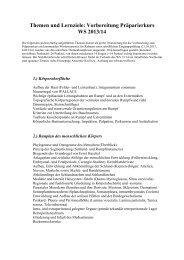 Themen und Lernziele: Vorbereitung Präparierkurs WS 2013/14