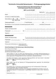 Antrag auf Zulassung zur BA-Prüfung - Universität Kaiserslautern