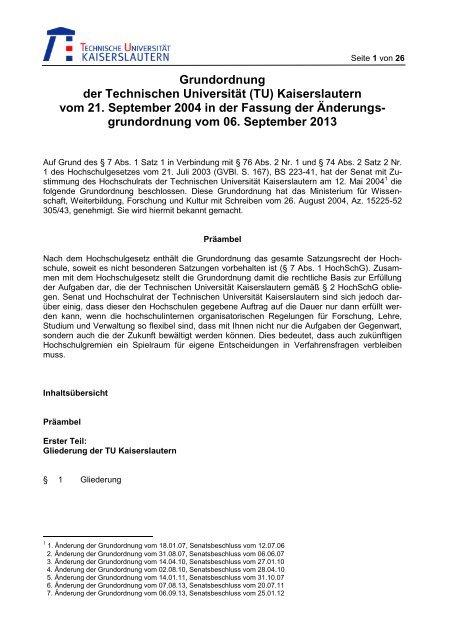 Grundordnung Der Technischen Universität Tu Kaiserslautern Vom