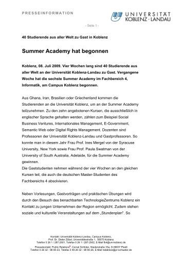 PI-Summer Academy - Universität Koblenz · Landau