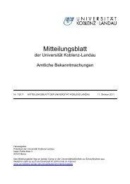 Mitteilungsblatt 7/2011 - Universität Koblenz · Landau