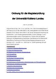 Ordnung für die Magisterprüfung - Universität Koblenz · Landau