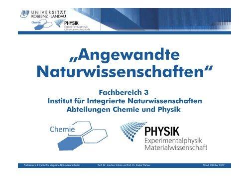 """""""Angewandte Naturwissenschaften"""" - Universität Koblenz · Landau"""