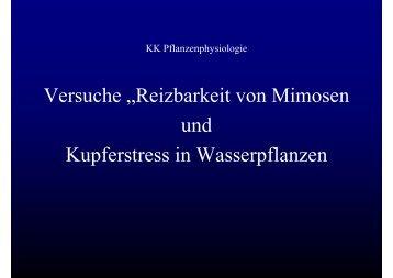"""Vers che Rei barkeit onMimosen Versuche """"Reizbarkeit von ..."""