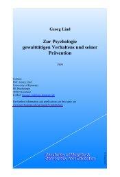 Zur Psychologie gewalttätigen Verhaltens und seiner Prävention