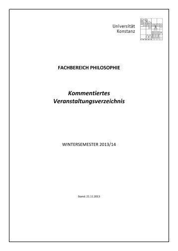Kommentiertes Veranstaltungsverzeichnis - Universität Konstanz