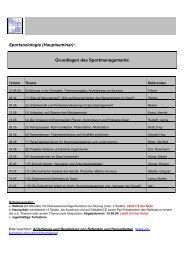Sportsoziologie (Hauptseminar): Grundlagen des Sportmanagements