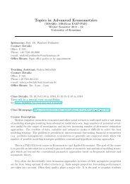 Course Description: Topics in Advanced Econometrics