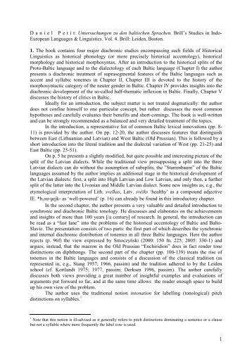 Untersuchungen zu den baltischen Sprachen. Brill's Studies in Indo