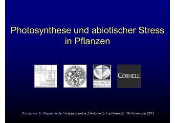 Ph t th d bi ti h St Photosynthese und abiotischer Stress in Pflanzen ...