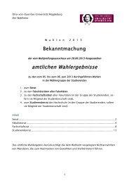 Bekanntgabe der amtlichen Wahlergebnisse - Otto-von-Guericke ...