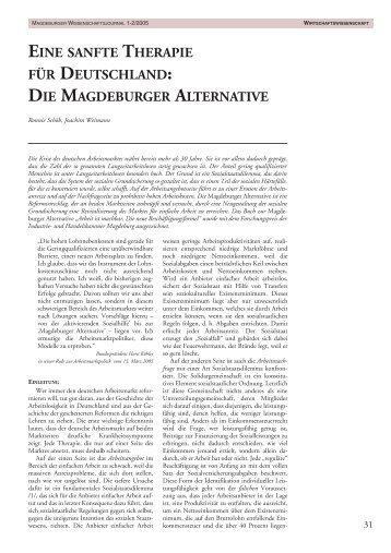 Die Magdeburger Alternative - Otto-von-Guericke-Universität ...