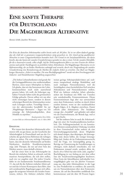 Die Magdeburger Alternative - Otto-von-Guericke-Universität ...