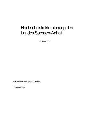 Hochschulstrukturplanung des - Otto-von-Guericke-Universität ...