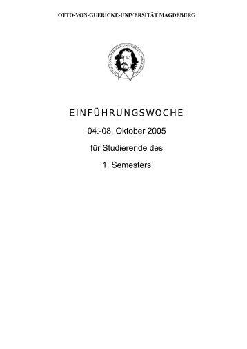 EINFÜHRUNGSWOCHE - Otto-von-Guericke-Universität Magdeburg