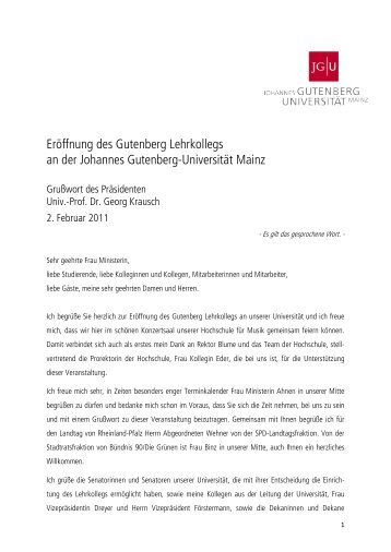 Prof. Dr. Georg Krausch - Johannes Gutenberg-Universität Mainz