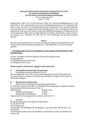 Ordnung zur Änderung der Ordnung der Fachbereiche 02, 05 und ...